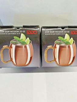Oggi Moscow Mule Copper Plated Mugs  Two 20-Ounce - NEW IN B