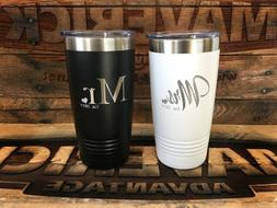 Mr. & Mrs / Bride & Groom Insulated 20oz Tumbler - Set of 2