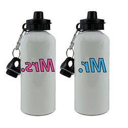 CustomGiftsNow Mr. and Mrs. 20-Ounce 600ML White Aluminum Wa