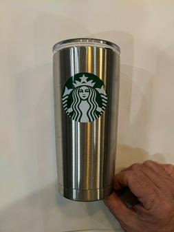 "Starbucks Mug Tumbler Silver 20 oz Stainless Steel 7"" tall w"
