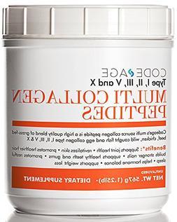 Multi-Collagen Protein Powder Hydrolyzed 20oz - Type I, II,