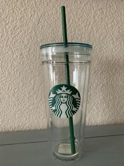 New 2017 Starbucks Clear Glass, Double Wall, Cold Cup Tumble