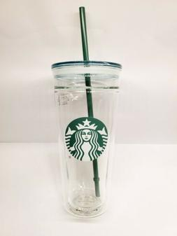 New 2017 Starbucks Venti Clear Glass Double Wall Cold Cup Tu