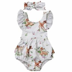 NEW Disney Bambi Baby Girls White Ruffle Romper Bodysuit & H