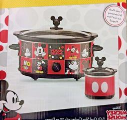 NEW Disney Mickey Mouse 5 Qt Slow Cooker with 20 oz Dipper S