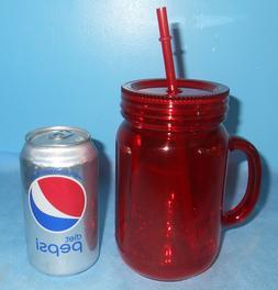 NEW RUBY RED ACRYLIC PLASTIC 20 oz MASON JAR TUMBLER MUG CUP