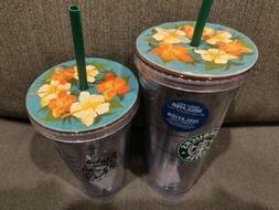 NEW TWO Starbucks Aloha from Hawaii Tumbler Mug  20 & 16 oz
