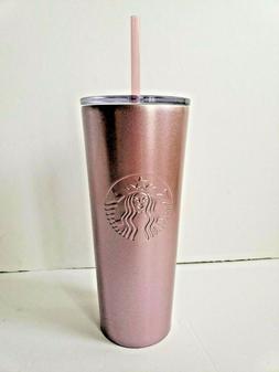 NWT 2018 Starbucks 20oz Venti Rose Gold Pink Glitter Cold Cu