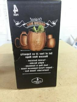 Original Moscow Mule Mugs Set of 4 Hammered Copper-Plated Dr