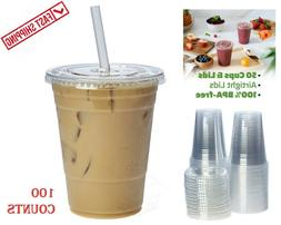 16 oz Plastic Clear Drink PET Cups with Flat Lids, 100 Sets