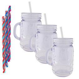 Aladdin  20oz Plastic Mason Jar Tumbler With Straw and Lid T