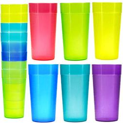 18 Pack 20 oz Plastic Tumblers, Cafe Break-Resistant Drinkin