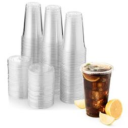 Green Direct 20 oz. Plastic Clear Cups With Flat Lids for Co