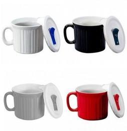 Corningware 20 ounce Pop-Ins Mug Set with Vented Plastic Lid