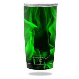 MightySkins Skin for Yeti 20 oz Tumbler - Green Flames | Pro