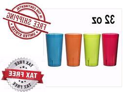 RAINBOW 12 PK Clear Break Resistant Drinking Cups Glasses 32