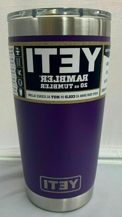 YETI RAMBLER 20 OZ PURPLE TUMBLER - Mug Slider Lid Included