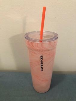 RARE New NWT STARBUCKS 20 oz Pink Marbled Glass Reusable Dou