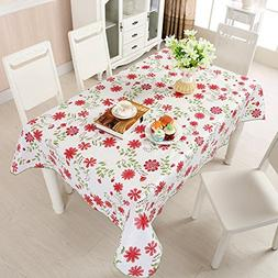 Uforme Red Blooming Floral Table Cloth Flannel Water Repelle