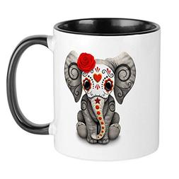 CafePress Red Day Of The Dead Sugar Skull Baby Elephant Mugs