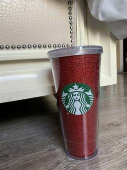 Starbucks Red Glitter 20oz Tumbler Cold Cup Straw and Lid