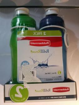 Rubbermaid Refill Reuse, 2 Pack, 32 oz, Chug Bottle Green/Bl