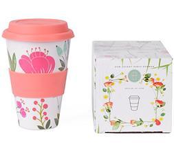 Boo In Bloom Reusable Coffee Tea Travel Mug, Bamboo Fiber, 1