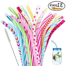 "30 Pieces Reusable Bent Plastic Straws,BPA-Free,9"" Colorful"
