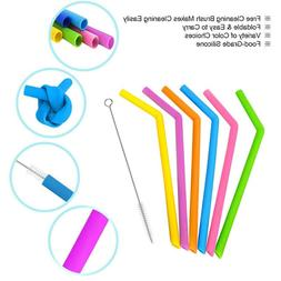 Reusable Silicone Drinking Straws Set Long Flexible Straws w