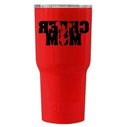 RTIC Cheer Mom on Red Gloss 20 oz Stainless Steel Tumbler Cu