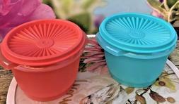 Tupperware Servalier 20 oz Bowls & Liquid Tight Seals Aqua a