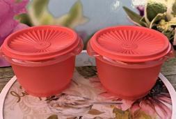 Tupperware Servalier 20 oz Bowls & Liquid Tight Seals Coral