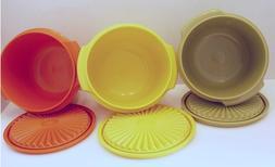 Tupperware Servalier Bowls Set 20 oz Harvest Olive Orange Ye