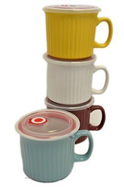 Set 4 Assorted Color Large 20oz Latte Mug Soup Bowls with Ve