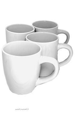 Set 4 Extra-Large White Porcelain 24oz American-Style Mornin