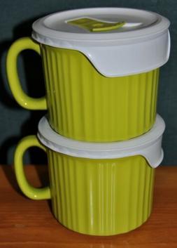 SET OF 2 NWOT Corning Ware GREEN 20 oz. Soup Mug with Vented