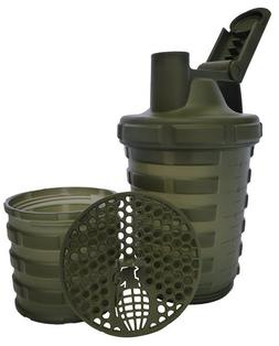 Grenade Shaker with Protein Compartment, 20 Ounce