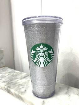 Starbucks Silver Glitter Plastic Cold Cup Tumbler Travel Ven