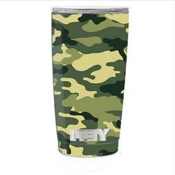 Skin Decal for Yeti 20 oz Rambler Tumbler Cup / Green Camo o