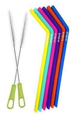 Tegion Slender Reusable Silicone Drinking Straws With Brush