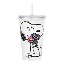 CafePress Snoopy Flowers Acrylic Double Wall Tumbler 20 oz.