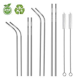 Set of 8 Stainless Steel Straws, Reusable Drinking Straws 10
