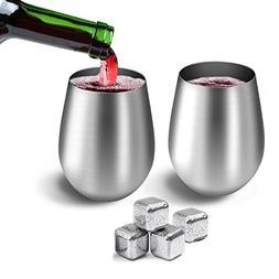 Stainless Steel Wine Glasses 20 oz HOMESTEC Premium Grade 18
