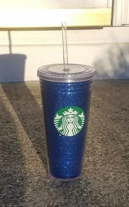 Starbucks Blue Sparkle Cold Travel Cup Tumbler w/ Straw 20 o