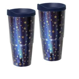 Stars Insulated Tumbler, Set Of 2, 20 oz, Blue With Gold Sta