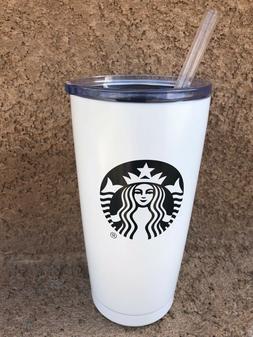 Starbucks Steel Vacuum 20 oz Tumbler with Tritan Straw White