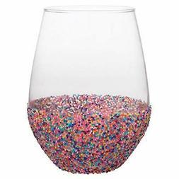 "Slant Stemless Wine Glass 20 oz. 3.5 x 5""H Confetti Wine Bea"