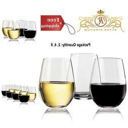 Stemless Wine Glasses Drinking Shatter Resistant Tritan Bar