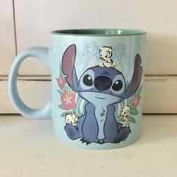Disney Stitch Floral Baby Ducks 20 oz. Blue Coffee Mug NWT
