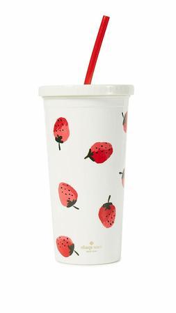 Kate Spade New York Strawberries Plastic Tumbler With Reusab